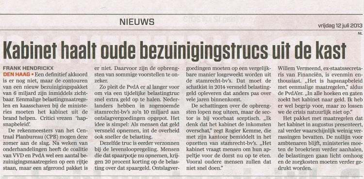 Algemeen Dagblad 12 juli 2013