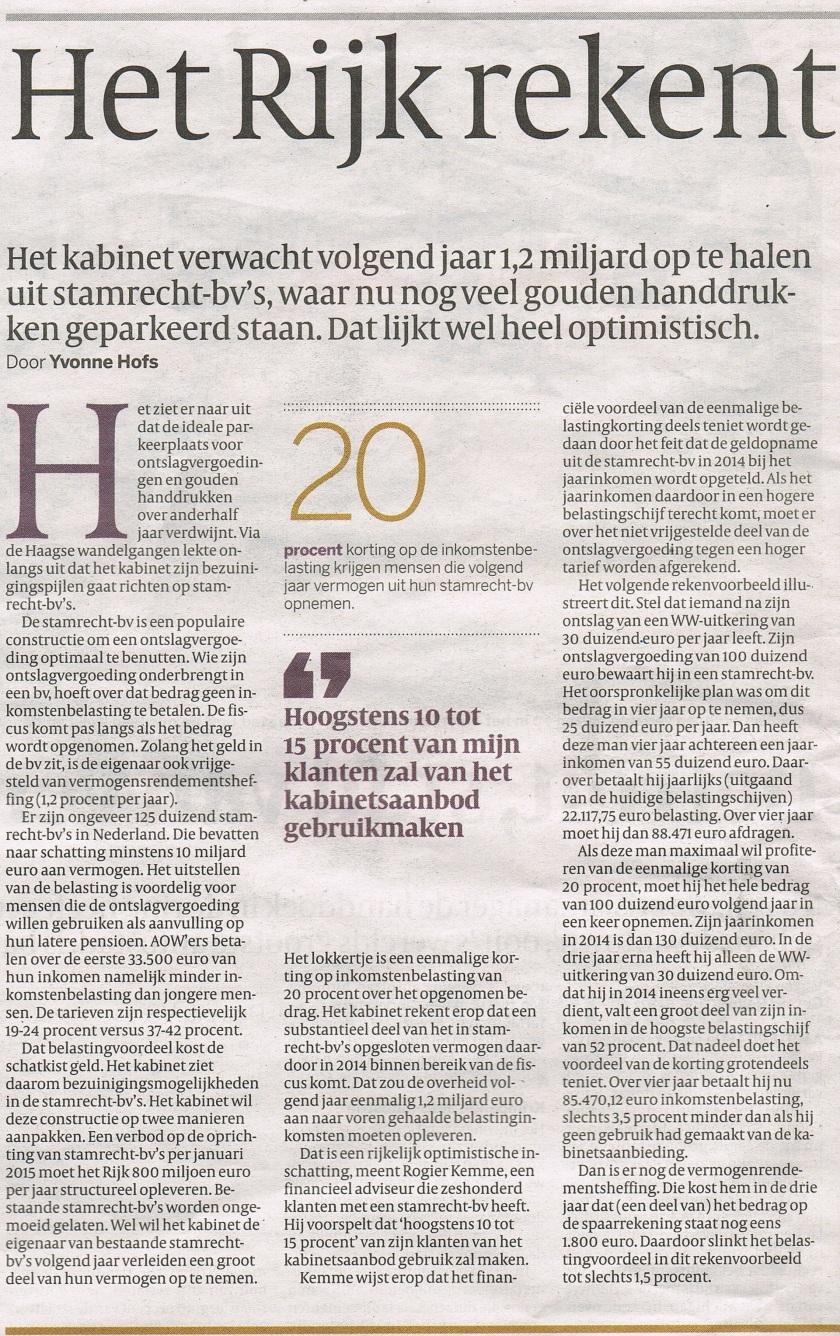 Volkskrant 20 juli 2013