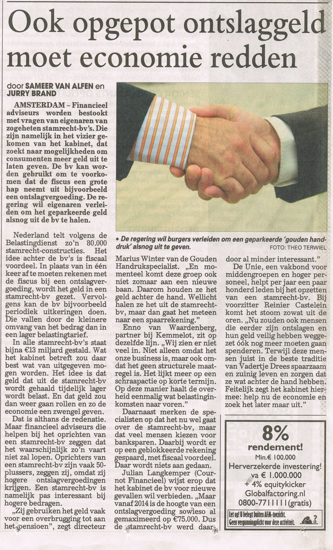 Telegraaf 13 juli 2013