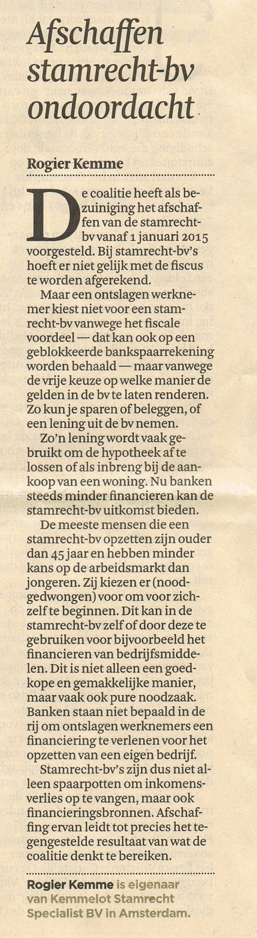 Financieel Dagblad 13-08-2013